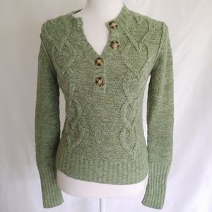 Arizona Jean Company Green Cable Knitted Sweater